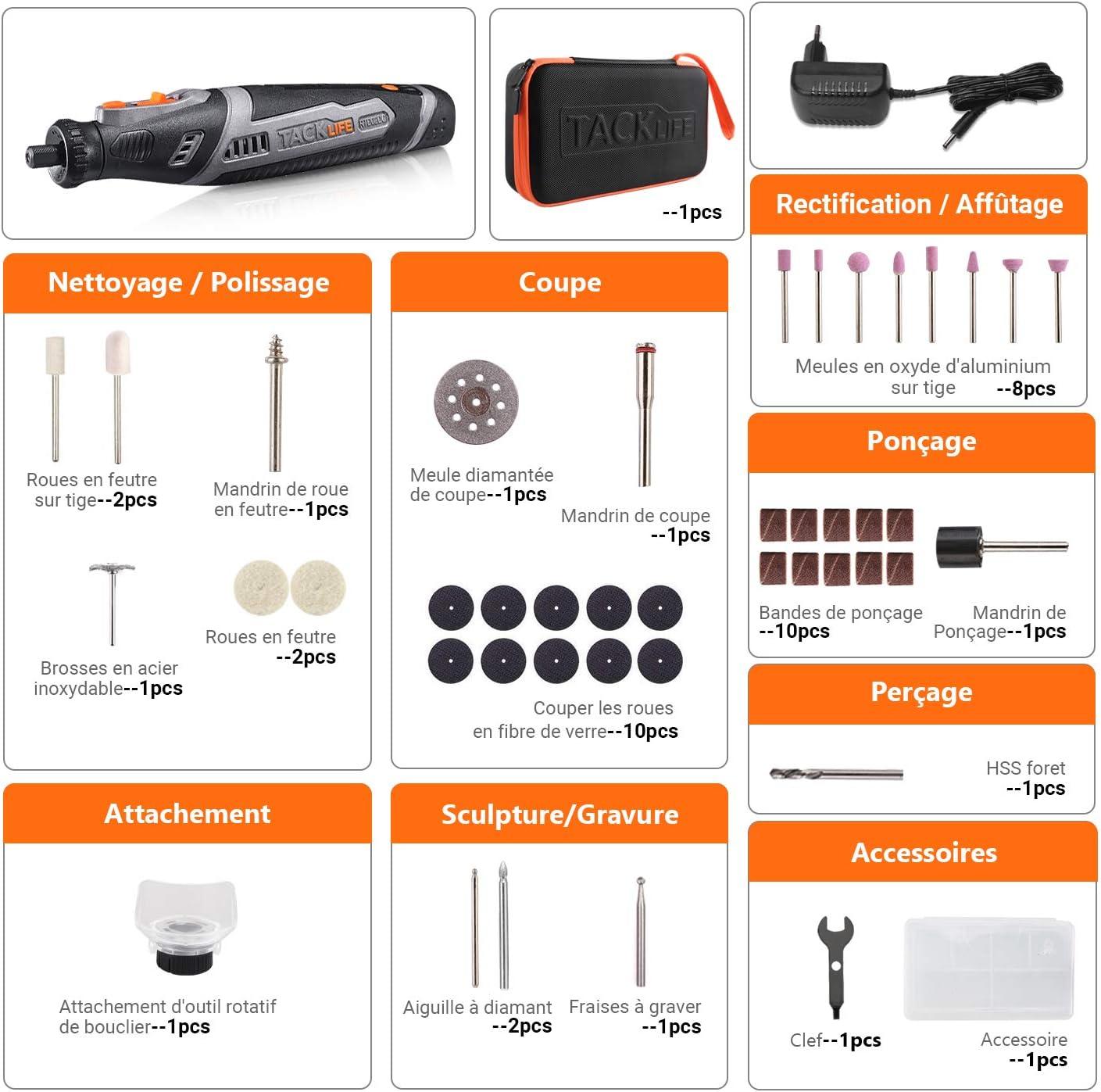 RTD02DC 8V Outil Multifonction sans fil avec 45 accessoires Batterie au Lithium-ion 2.0Ah TACKLIFE-Mini Outil Rotatif Charge Rapide 1h