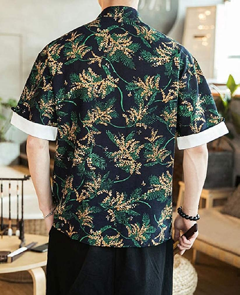pipigo Mens Short Sleeve Frog-Button Chinese Style Print Button Down Shirts