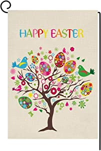 BLKWHT Easter Eggs Tree Small Garden Flag Vertical Double Sided 12 x 18 Inch Spring Yard Decor