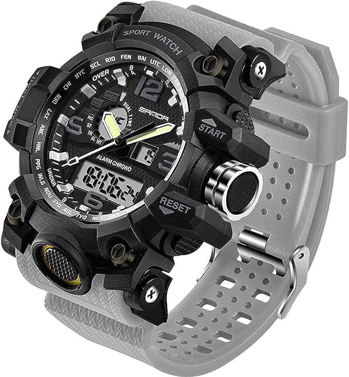 Men's Watch Military Waterproof Sports Digital Watch Big Wrist for Men Dual-Display Army Tactical Wristwatch