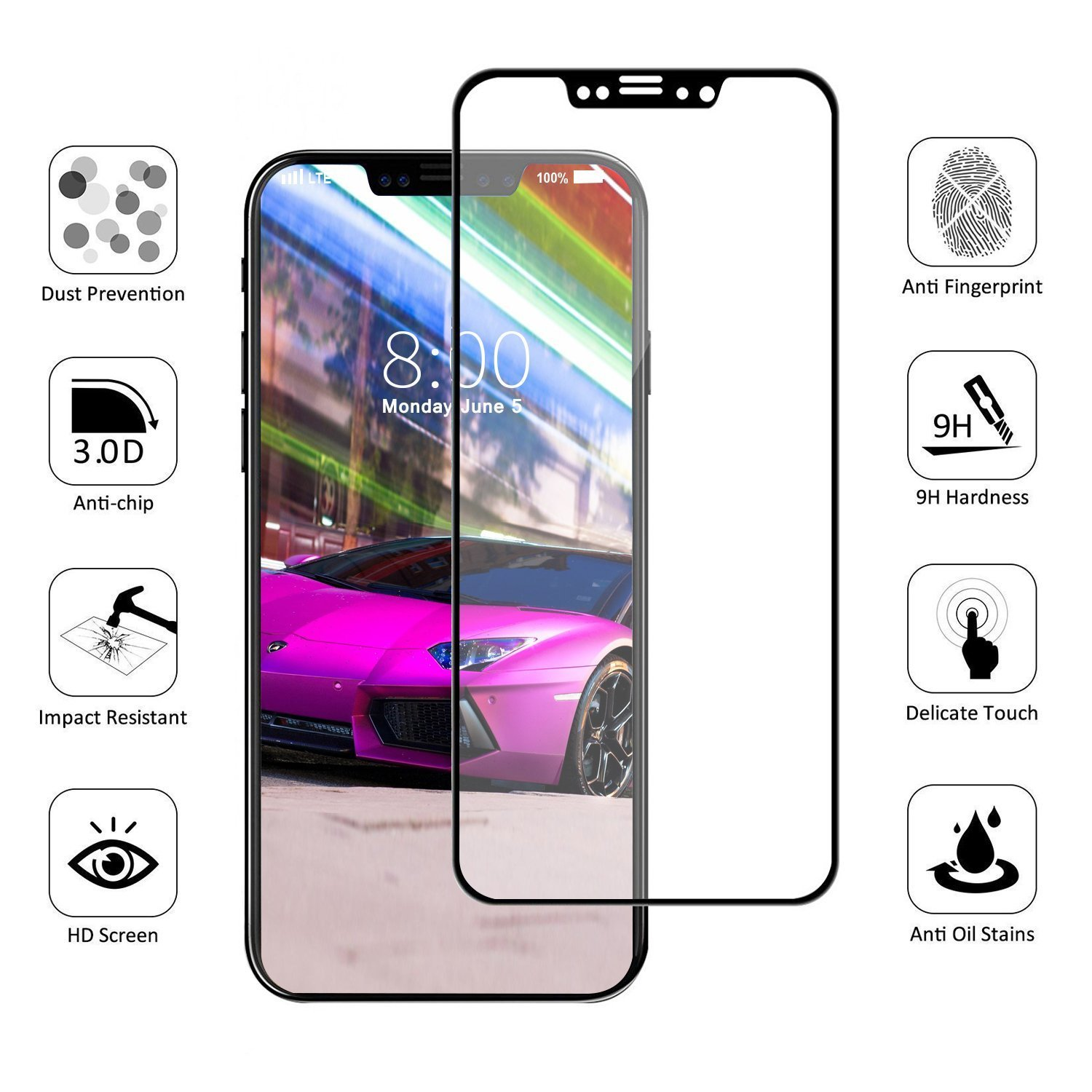 Amazon iPhone X Screen Protector Topcanyon [ Full Coverage ] [0 33mm 5D] [Bubble Free] [9H Hardness] [Easy Installation] [HD Clear] Tempered Glass
