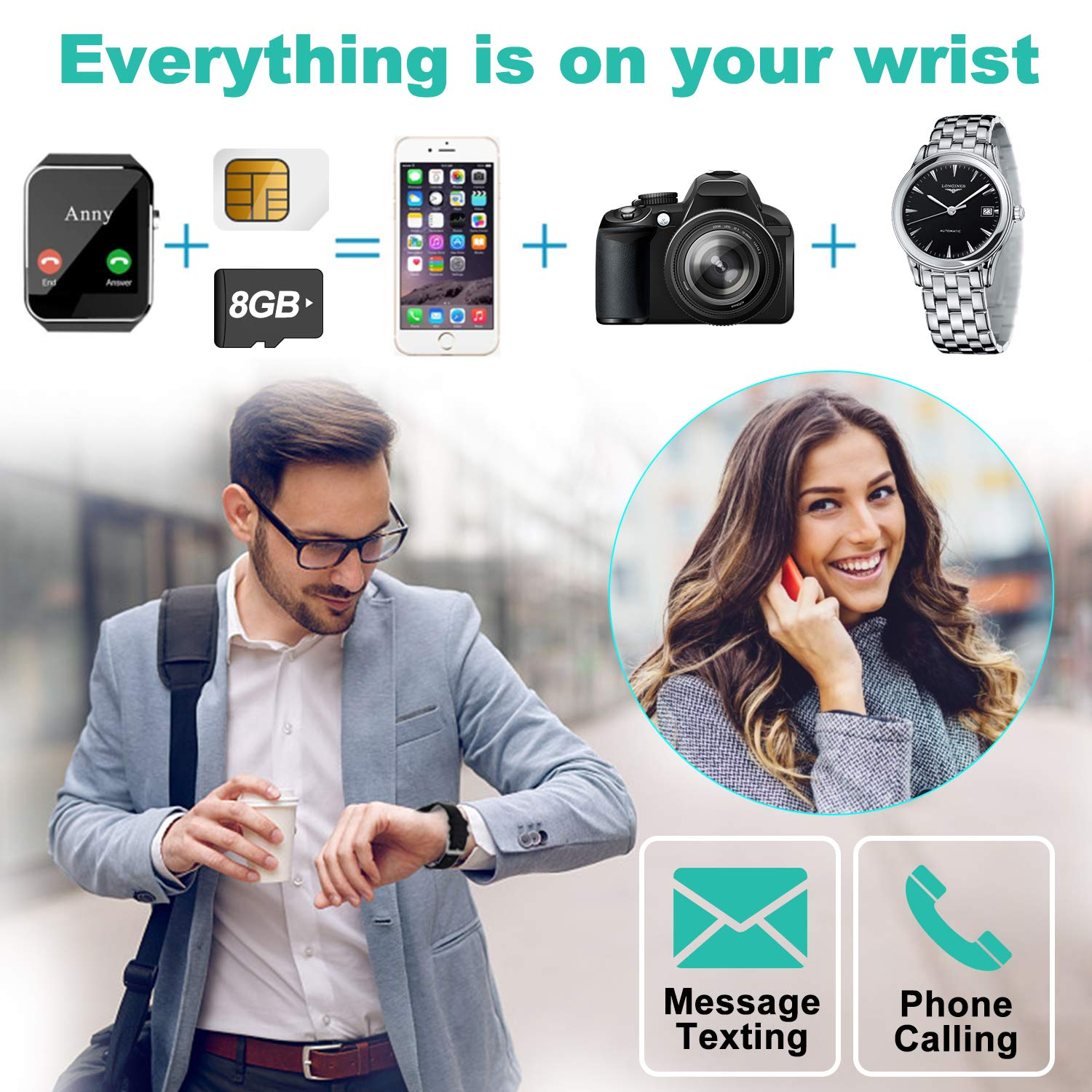 Amazon.com: Smart Watch for Android Phones[FREE SIM 8G SD ...