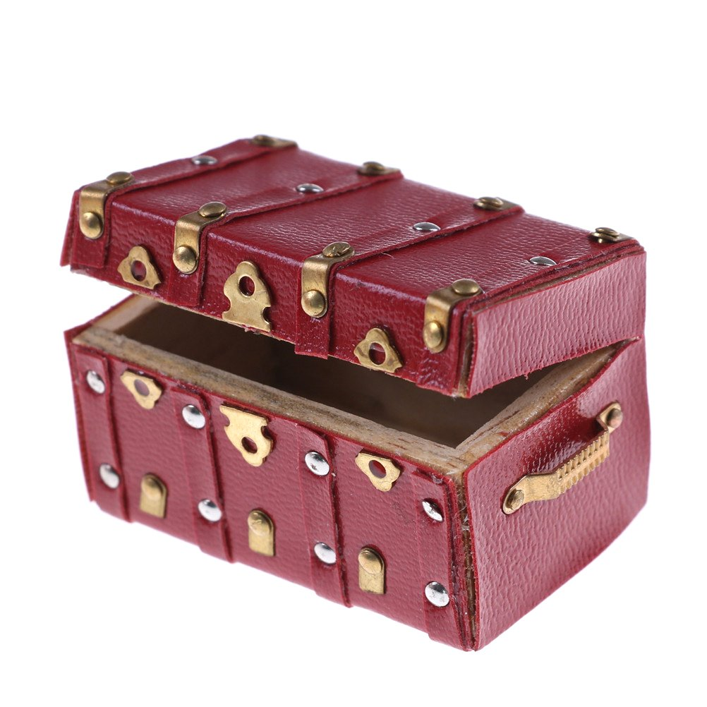 1 Pcs Vintage Wooden Luggage Case Box for 1:12 Dolls House Miniature Decor by TOYZHIJIA The glass Heart