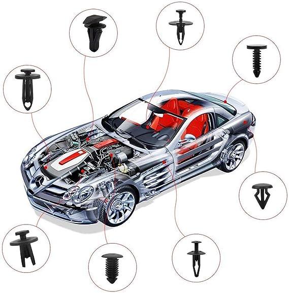 Slubee 446 Tlg Kfz Halteklammern Und Kunststoffbefestigungssätze 18 Verschiedene Größen Auto Push Pin Nietensatz Sortiment An Stoßstangentürverkleidungsklammern Auto