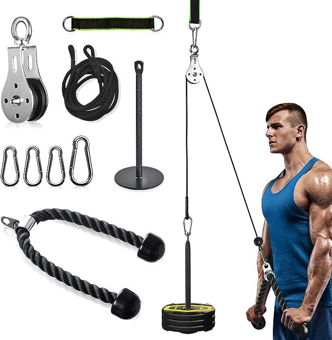 Sistema di carrucole per il fitness con manico per tricipiti e cinghie di trazione per palestre di casa allenamento per la forza del polso dellavambraccio del garage