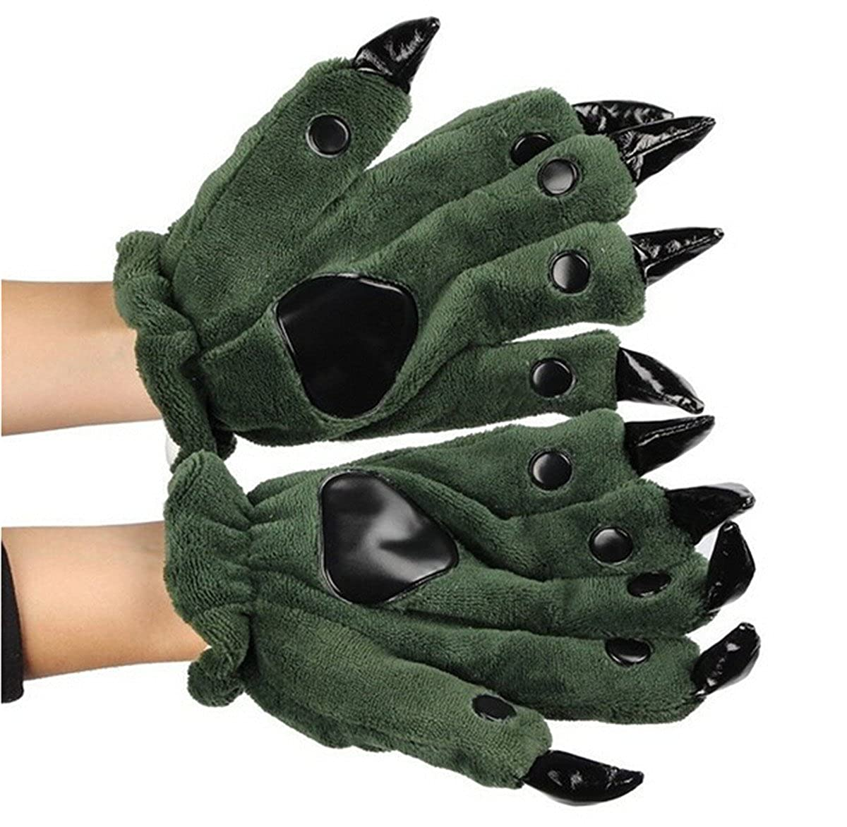 Fusicase Unisex Winter Plush Adult Warm Animal Dinosaur Costume Paw Claw Gloves