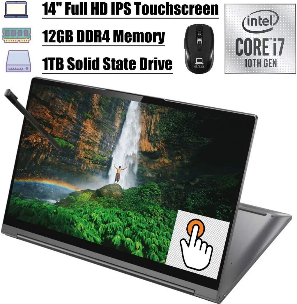 "2020 Latest Lenovo Yoga C940 2 in 1 Laptop, 14"" Full HD IPS Touchscreen, 10th Gen Intel Quad-Core i7-1065G7 12GB DDR4 1TB SSD, Dolby Audio Thunderbolt Backlit BK FP Win 10 + ePark Wireless Mouse"