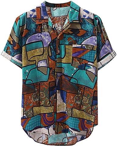 Camisas Casuales para Hombres Camisa Holgada de Manga Corta ...