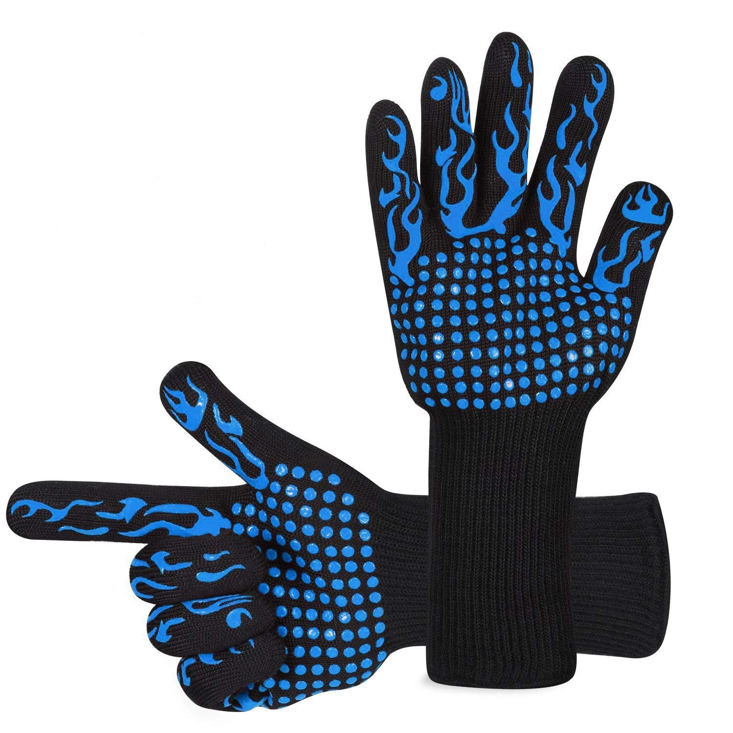 Awekris Oven Gloves Heat Resistant, BBQ Grilling Gloves for Cooking Kitchen Baking Fireplace Grilling, Blue