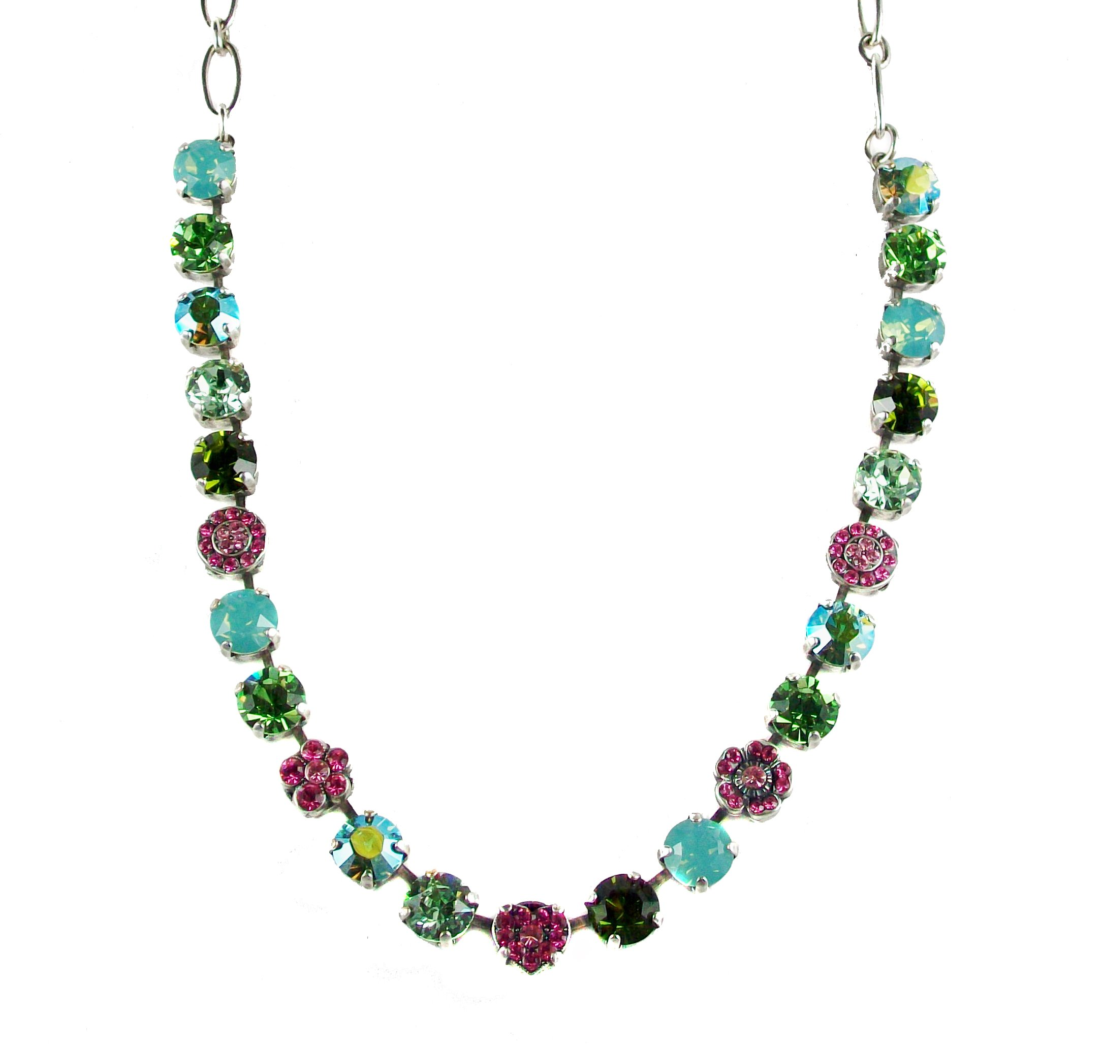 Mariana ''Tropical'' Antique Silver Plated Swarovski Crystal Flower Necklace, 16''