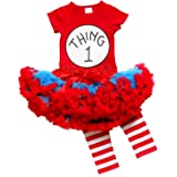 So Sydney Toddler Girl Thing or Cat in the Hat Outfit Costume, Top Pants Tutu Skirt