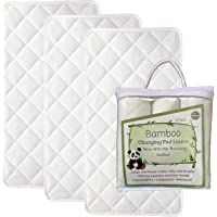Premium Bamboo Changing Pad Liners, Waterproof, Best Grip, Longer and Thincker XL, 4 Layers, Quilted, 3 Pack, Ultra Soft, Highly Absorbent, Machine Washable, Dryer Friendly