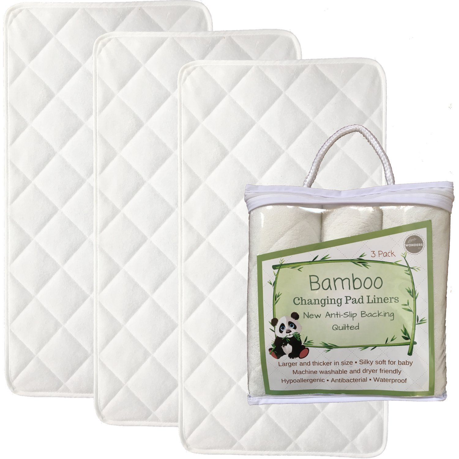 NEW ANTI SLIP - Larger - 27'' x 14'' - Bamboo Changing Pad Liners - 4 Layers - Quilted- 3 Pack - Ultra Soft - Highly Absorbent - Machine Washable, Dryer Friendly by Little Wonders