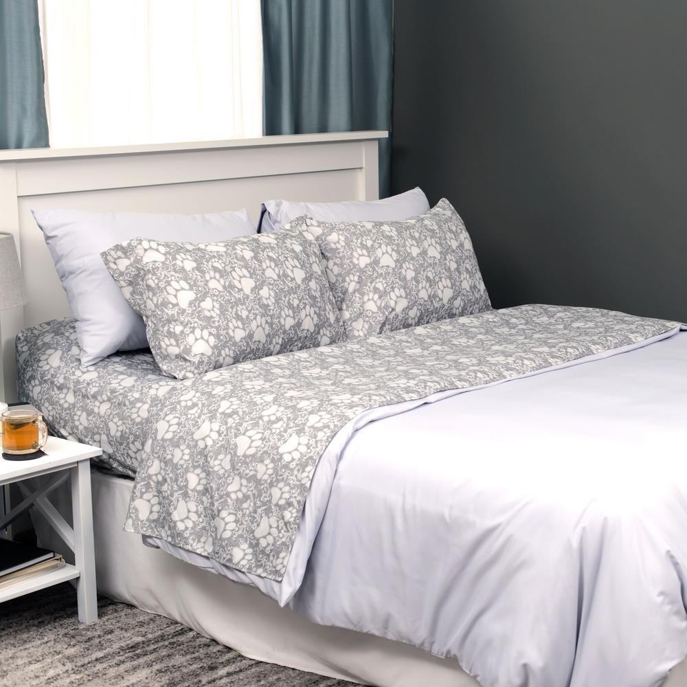 Green, Queen Super Cozy Paws to Cuddle Sheet Set