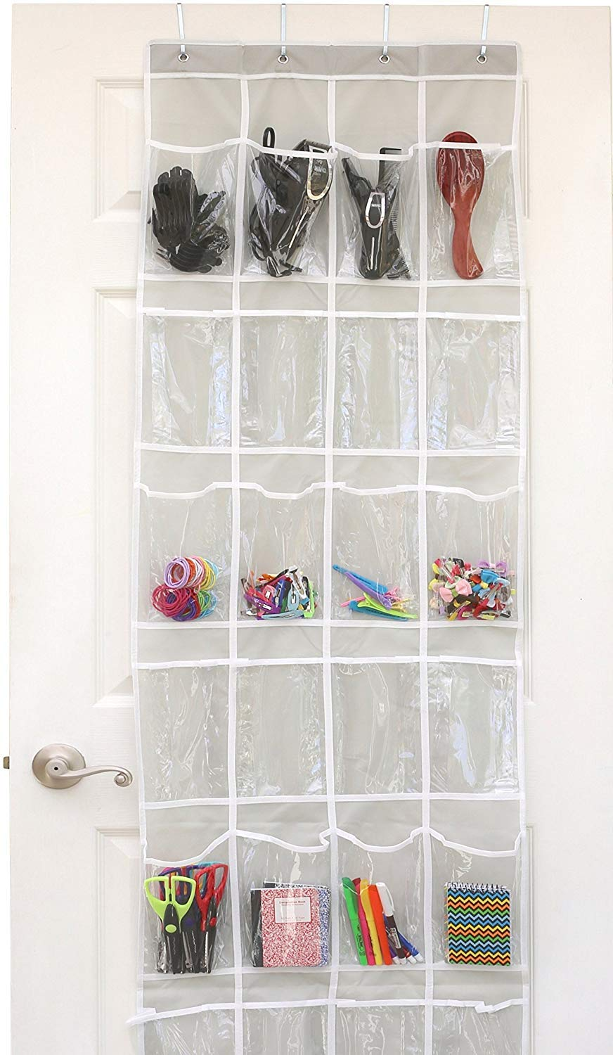 over-the-door clear 24 pocket shoe organizer