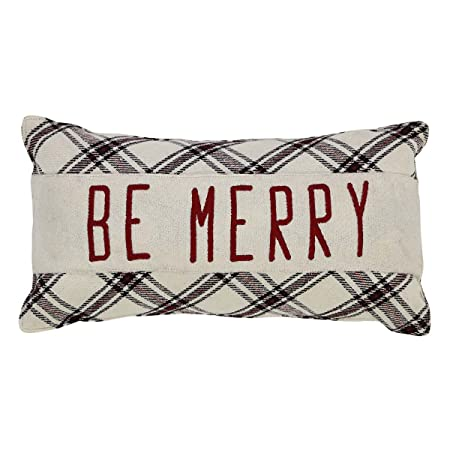 VHC Brands Christmas Holiday Throws-Amory White Be Merry 7 x 13 Pillow, 7 x 13