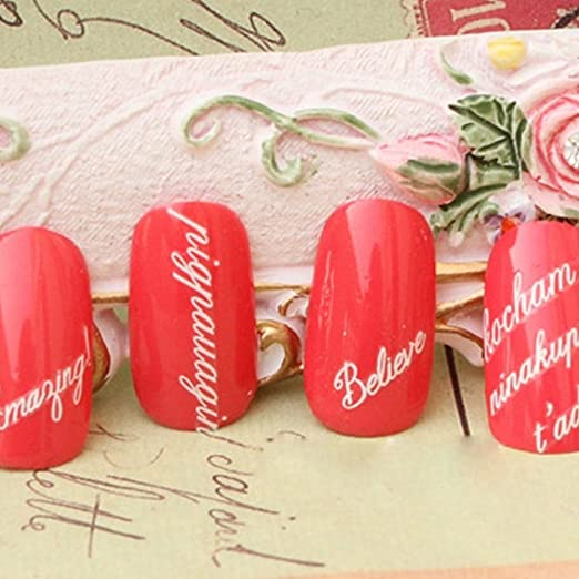 Amazon.com : Nail Stencil Stickers with Words Adhesive Nail Art Stickers Decals Decorations (2) : Beauty