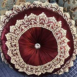 GE&YOBBY Lace Embroidery Round Chair Cushion,Pumpkin Soft Thick Sofa Pillow,European Fabric Tatami Pouf with Crystal for Bed Sofa Car Tatami Bay Window Decor Red Wine 18x18inch