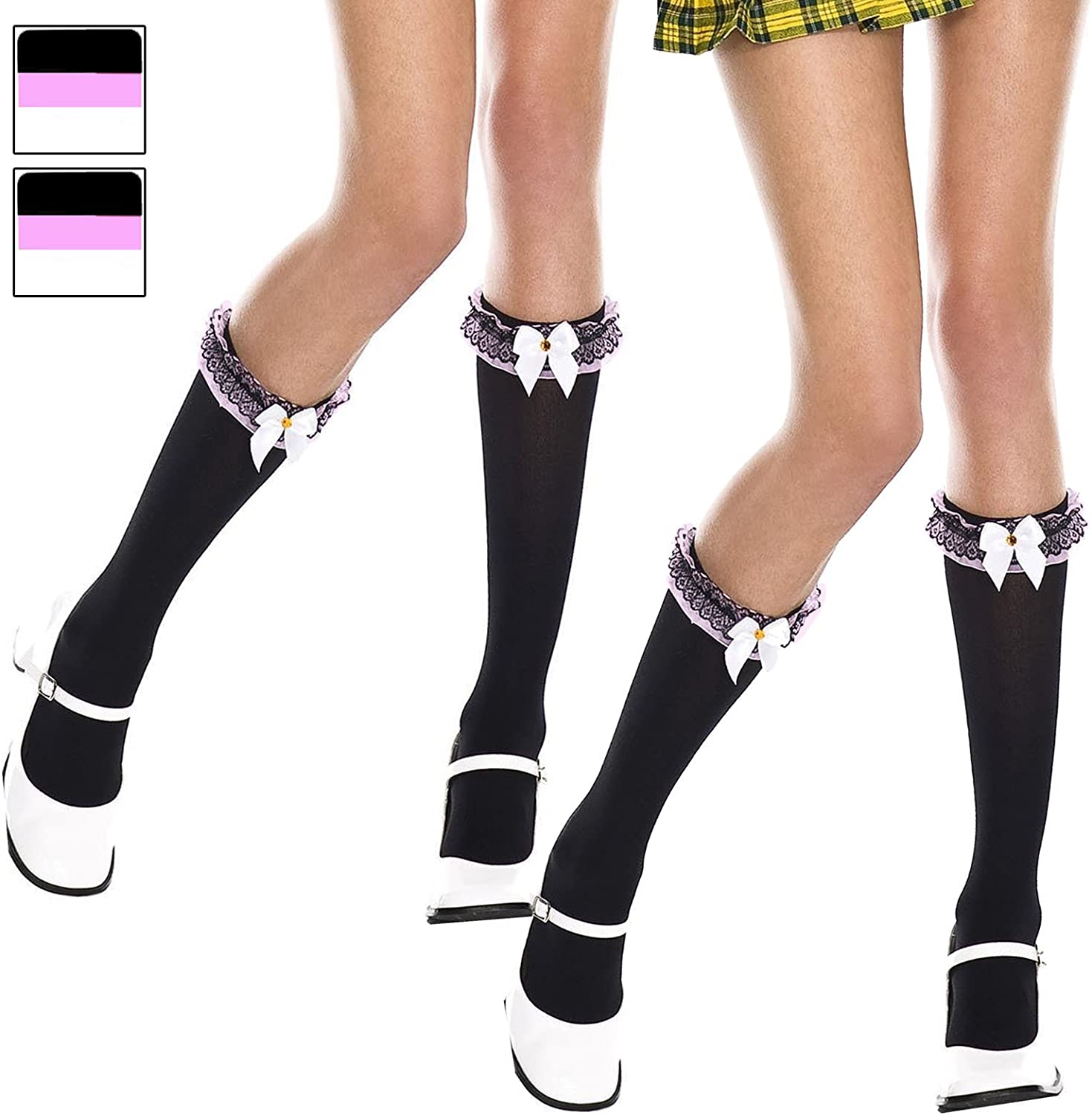 BLACK and WHITE OPAQUE Anklets w// LACE UP LACE TOPS