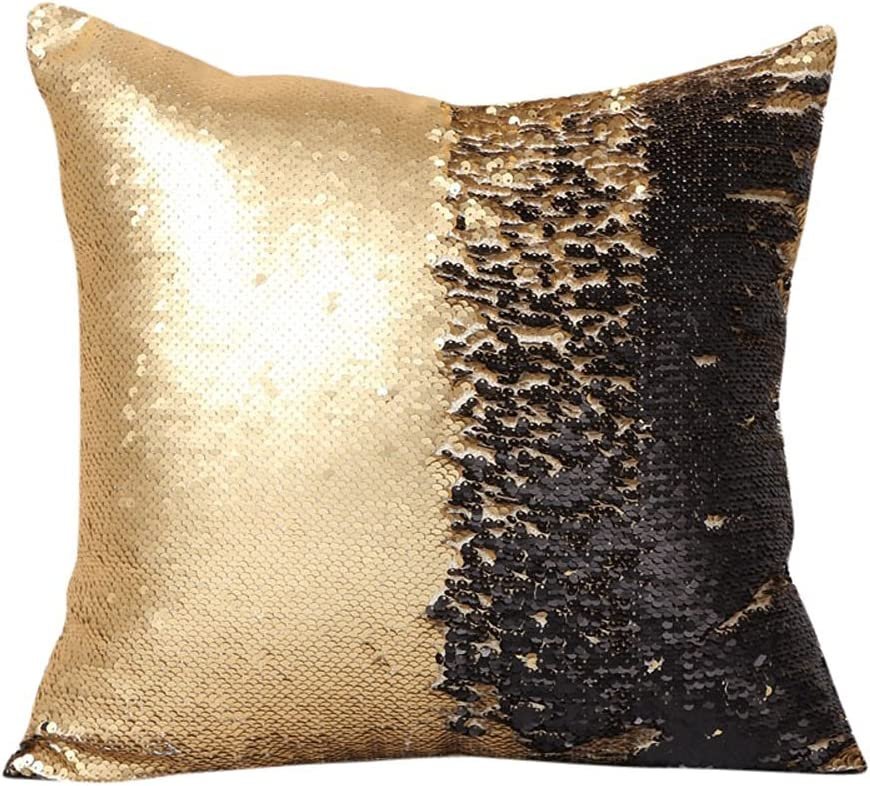 SNUG STAR Two-Color Decorative Pillow Case Square Paillette Throw Mermaid Sequins Cushion Covers 16 X 16 for Home Decor Party/Sofa/Bed(Gold and Black)