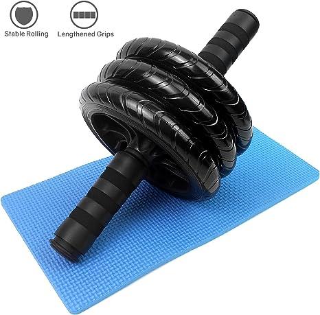 Rouleau dexercice abdominal Roue double avec poign/ées en mousse Exercices de force Roue dentra/înement abdominale
