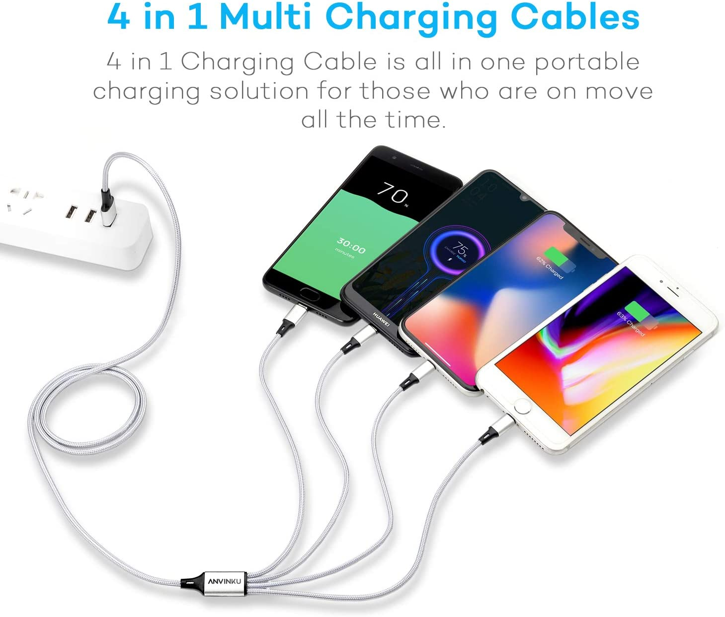 Multi Charging Cable Portable 3 in 1 Pattern Hearts USB Cable USB Power Cords for Cell Phone Tablets and More Devices Charging