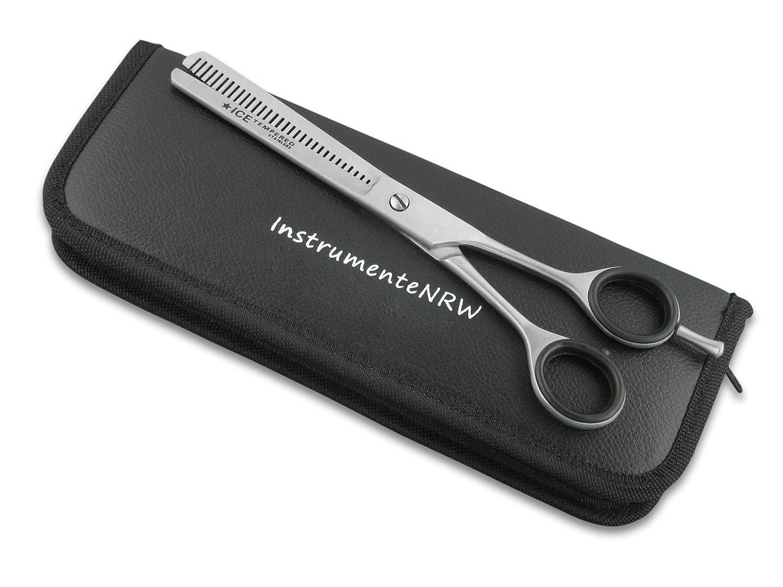 Premium Effilierschere - Modellierschere - Friseurschere - Haarschere - Ausdünnzahnung mit praktischem Aufbewahrungs-Etui (Nr. 2 = 6 Zoll Ausdünnzahnung 2-seitig) InstrumenteNRW HS-BAR