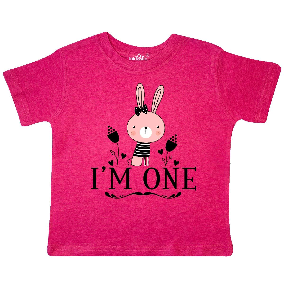 inktastic 1st Birthday Outfit Gift Girl Bunny Toddler T-Shirt