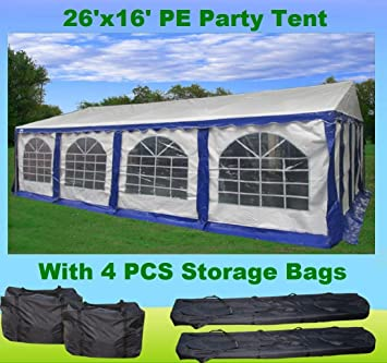 26u0027x16u0027 PE Party Tent Blue/White   Heavy Duty Wedding Canopy Carport