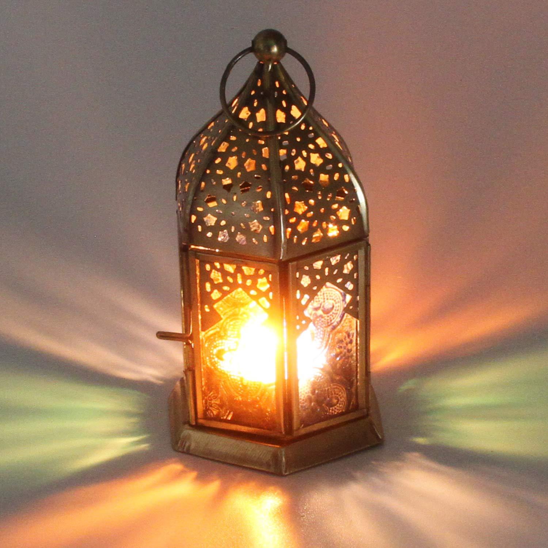 Marokkanische Glaslaterne f/ür drinnen /& drau/ßen WDL1012 Casa Moro Orientalisches Windlicht Glaswindlicht Nael Multi| Antikgoldfarbenes Windlicht mit farbigem Ornamentglas