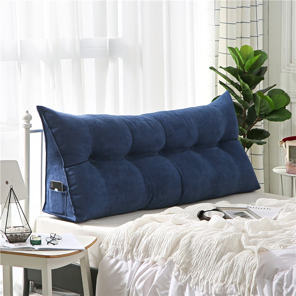 VERCART Velvet Sofa Bed Large Soft Upholstered Headboard Filled Wedge Cushion Bed Backrest Positioning Support Reading Pillow Office Lumbar Pad with Removable Cover Navy Queen