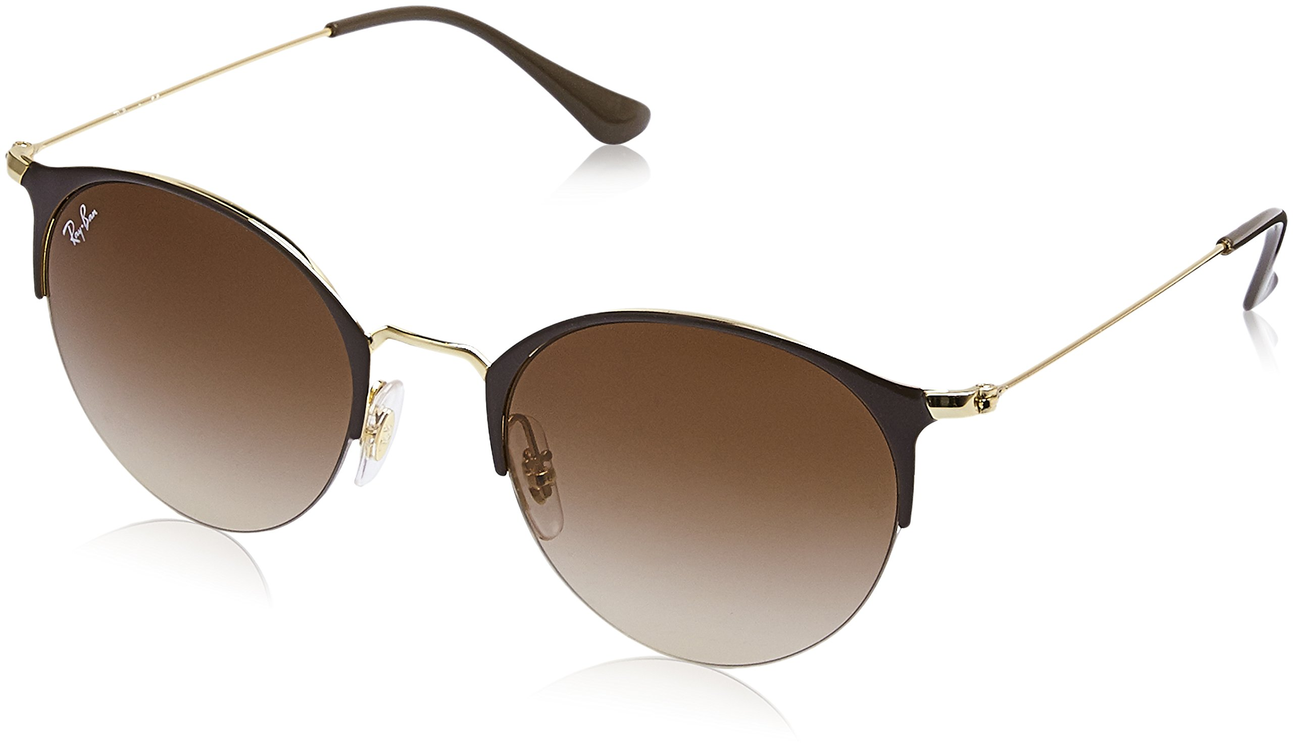 Ray-Ban Metal Unisex Round Sunglasses, Gold Top Brown, 50 mm