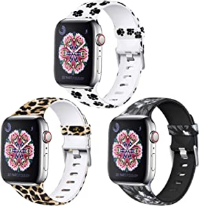 Laffav Floral Bands Compatible with Apple Watch 40mm 38mm iWatch SE & Series 6 & Series 5 4 3 2 1 for Women Men, Classic Leopard, Gray Flower, Paw Print, 3 Pack, S/M