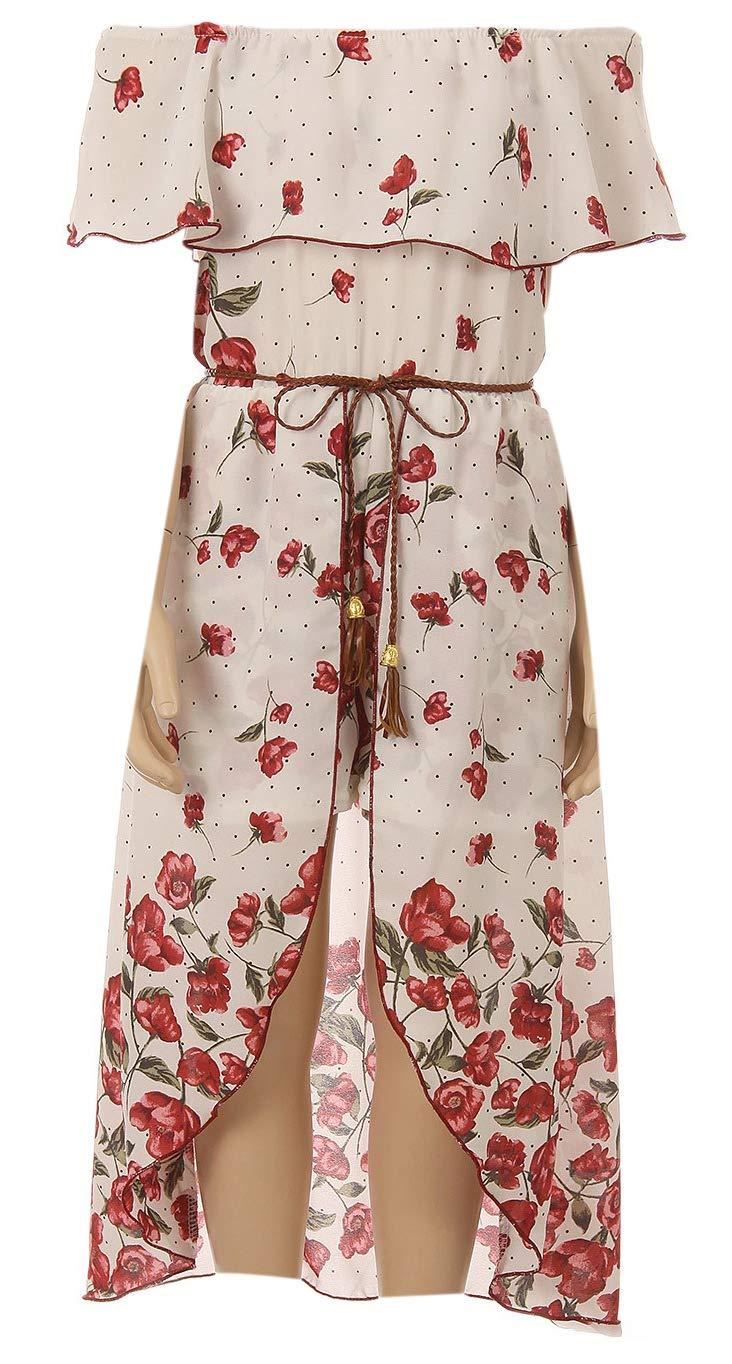 Big Girls' Floral Flower Ruffle Off Shoulder Birthday Party Romper Clothing USA Burgundy 14 (J21KS39) by Dreamer P