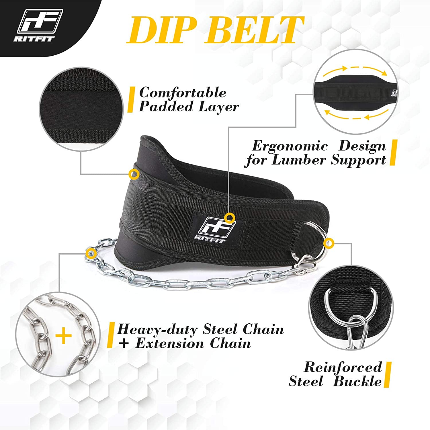 Black Tricep Dips RitFit Upgraded Premium 7.5/'/' Dip Belt with 38/'/' Reinforced Chain for Weight Lifting Weighted Pull Ups Maximize Your Weightlifting /& Bodybuilding Workouts Chins