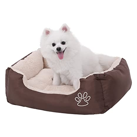 FEANDREA Cómoda Cama para Perros, Mascotas, Rectangular, con Cojín Reversible, Relleno de Polipropileno, Dimensiones externas: 60 x 48 cm, PGW02Z