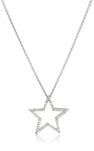 Jewelili Sterling Silver Diamond Star Pendant Necklace 1 5 cttw , 18