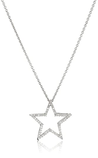Amazon sterling silver diamond star pendant necklace 15 sterling silver diamond star pendant necklace 15 cttw 18quot aloadofball Images