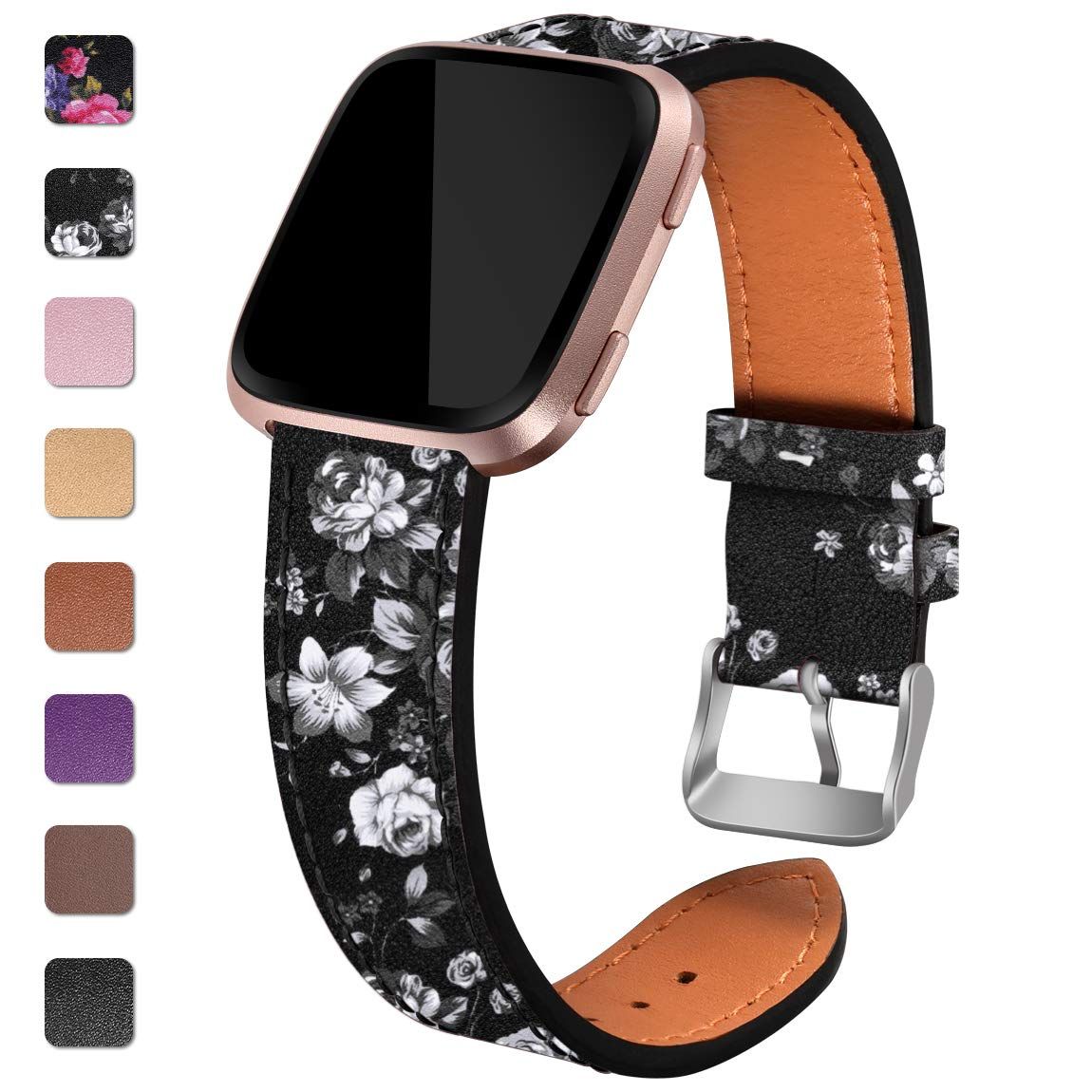 Maledan Replacement Bands Compatible for Fitbit Versa/Versa 2, Versa Lite Edition and Versa Special Edition, Genuine Leather Band Replacement Accessories Strap for Fitbit Versa Smart Watch, Women Men