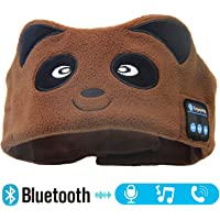 Kids Bluetooth Sleeping Eye Mask Headphones, Bear Wireless Hands-Free Soft Music Headband with Ultra-Thin Speakers and Mic Children's Earphones for Girls & Boys, School, Calls, Home and Travel