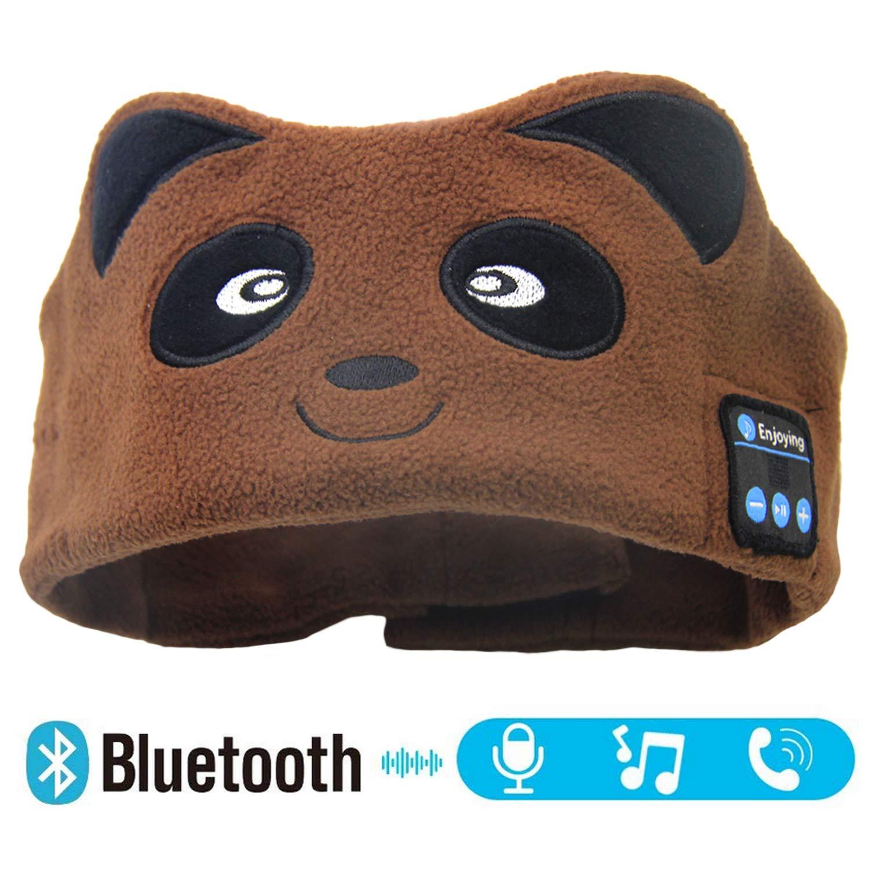 Kids Bluetooth Sleeping Eye Mask Headphones, Bear Wireless Hands-Free Soft Music Headband with Ultra-Thin Speakers and Mic Children's Earphones for Girls & Boys, School, Calls, Home and Travel
