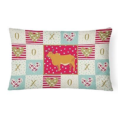Caroline's Treasures CK5252PW1216 Zebu Indicine Cow Love Canvas Fabric Decorative Pillow, 12H x16W, Multicolor : Garden & Outdoor