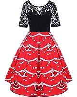 New Vintage Christmas Lace Yoke Lace Floral Swing Dress Women Retro 50s Robe Female Vestidos de