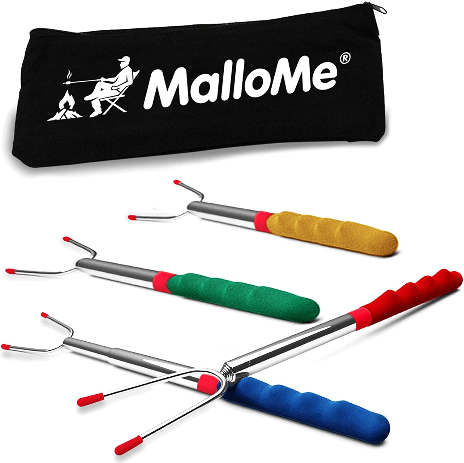 MalloMe Premium Marshmallow 45-inch Roasting Sticks Set of 4 Smores Skewers & Hot Dog Fork | Extending Patio Fire Pit Camping Cookware Campfire