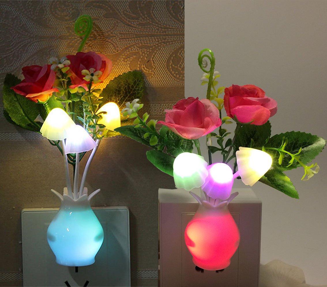 2Pack Plug in LED Night Light w//Auto Dusk to Dawn Sensor,AUSAYE 0.5W Energy Saving Lamp Dream Nightlight Rose Flower Mushroom Night Lights for Kids Adults Bedroom,Bathroom,Living Room,Kitchen,Hallway