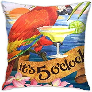 Alin-Z Throw Pillow Cover It's 5 O'Clock Somewhere Party Parrot Flag Square Decorative Pillowcase Cushion Cover Lumbar Pillowcase 18x18 Inch