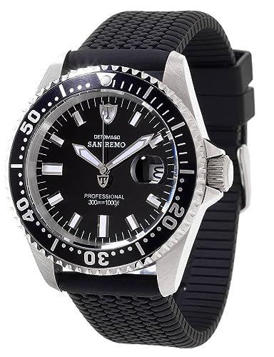 Detomaso DT1025-I - Reloj para hombres, correa de silicona color negro: Amazon.es: Relojes