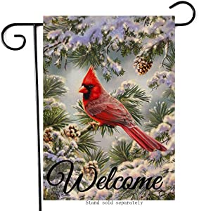 Artofy Welcome Winter Decorative Cardinal Small Garden Flag, House Yard Outside Bird Decor Snowy Pine Tree, Christmas Holiday Home Decorations Seasonal Outdoor Welcome Flag Vertical Double Sided 12x18