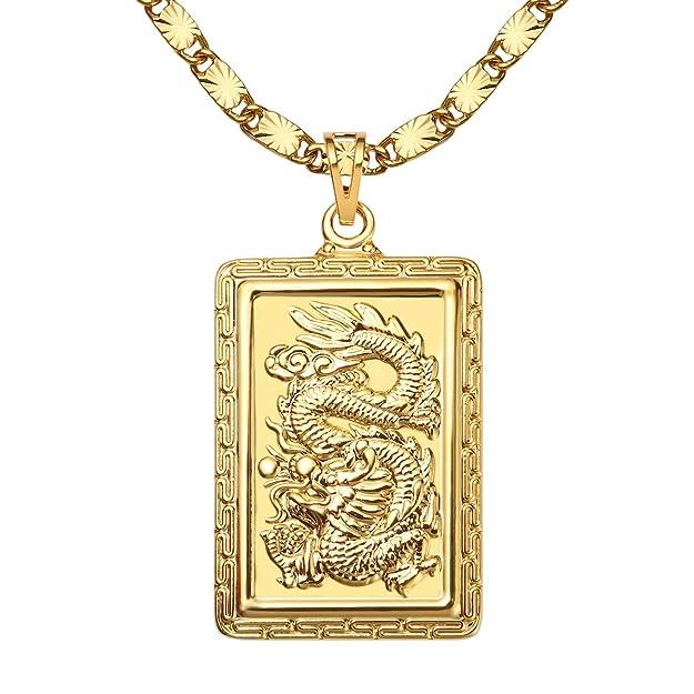 24K chapado en oro Dragon colgante collares cadena 60cmhttps://amzn.to/33qQFav