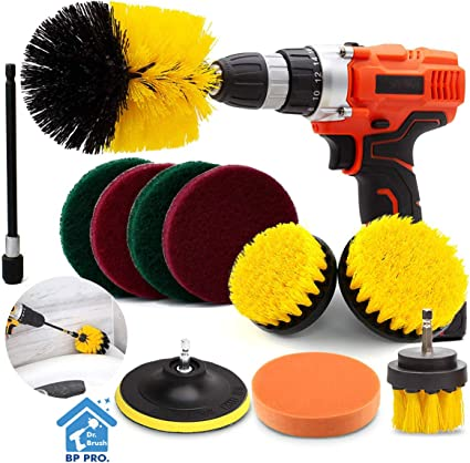 Amazon Com Drill Brush Attachment Set Scrub Brush Power Scrubber Drill Brush Kit 11 Pieces Scouring Pad All Purpose Cleaning Kit For Bathroom Toilet Grout Floor Tub Shower Tile Auto Sinks Kitchen Health